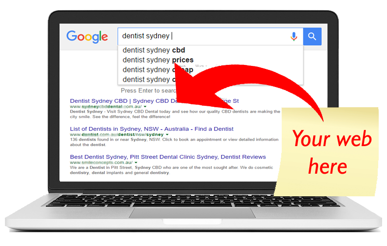 Dentistry SEO searches in Google