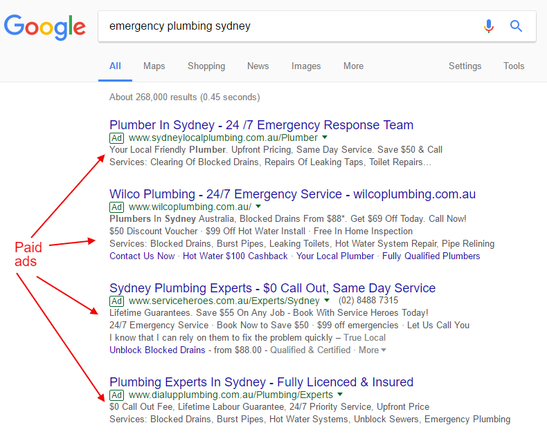 paid ads in search results google