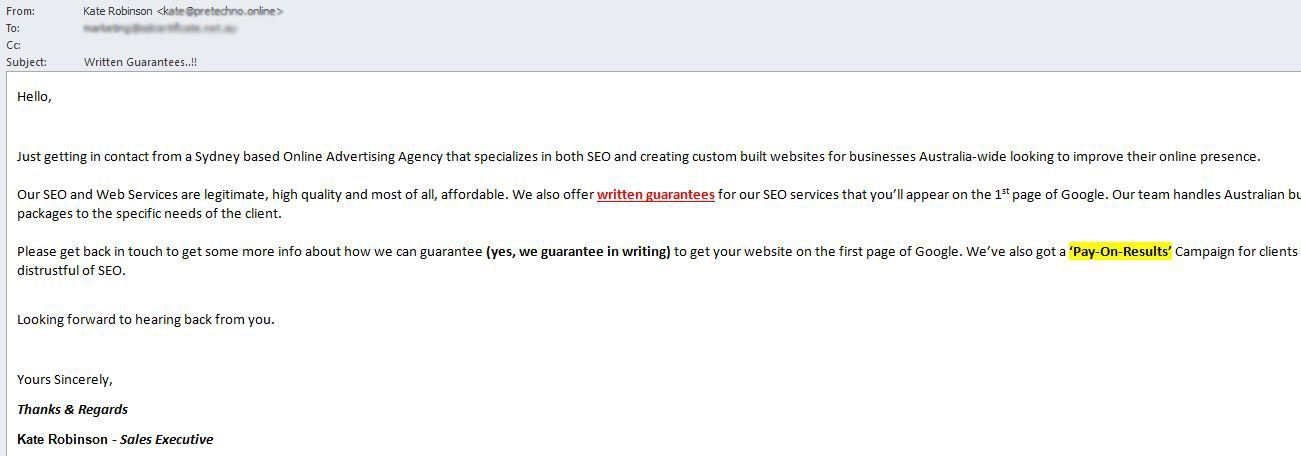 SEO spam from an Indian person