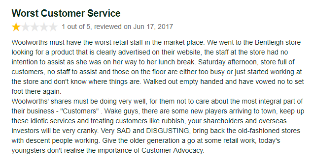 Negative Woolworths Review