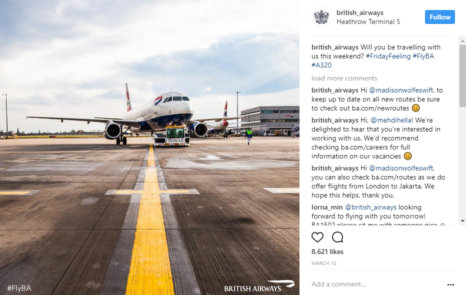 british airways always ask questions in their posts