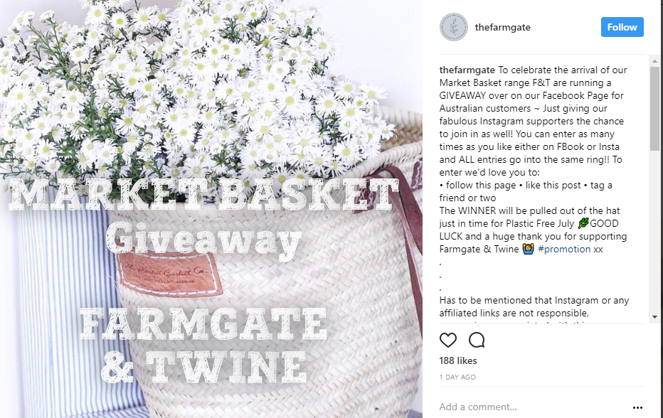 farmgate and twine running a instagram competition