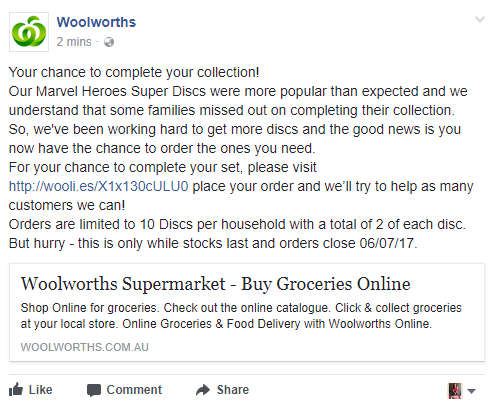 long woolworths facebook post