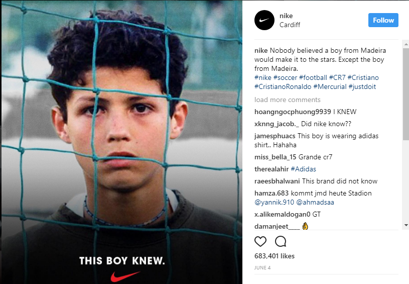 nike uses hashtags in their posts