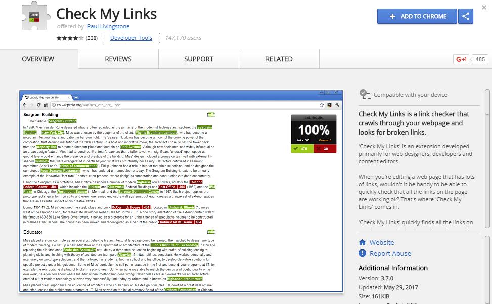 screenshot of check my link