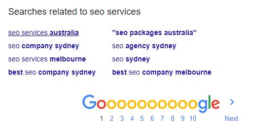 google related searches in result page
