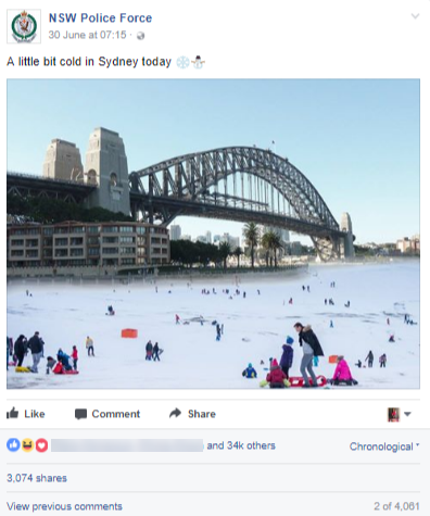 funny facebook post from nsw police force