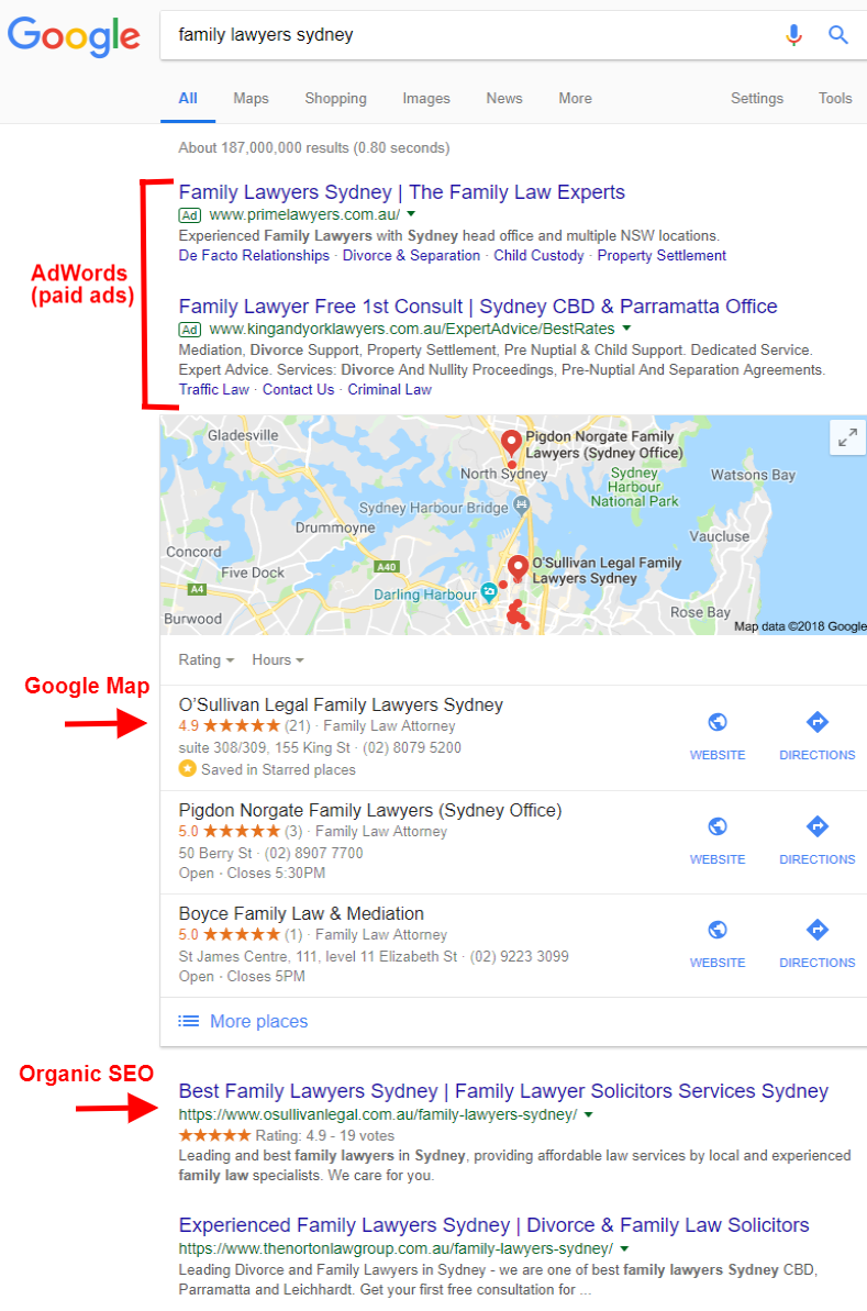 First page of Google SEO case study