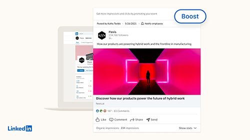 An announcement about boosted posts and event ads from LinkedIn.