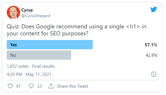 A tweet with a poll about how to use h1 headings for SEO.