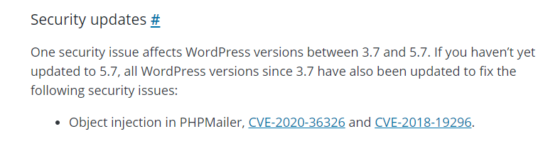An update from WordPress about their 5.7.2 version that repairs critical vulnerability.