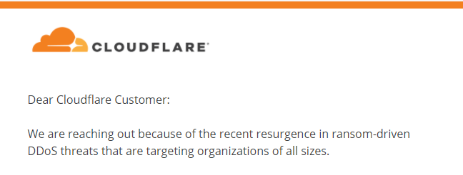 A message from cloudflare about the resurgence of DDoS attacks.
