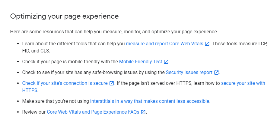 Google's advice for websites for the Page Experience update.