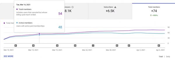 YouTube Analytics creator channel insights.